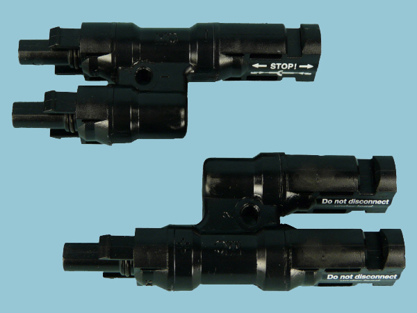 Pair of MC4 Type Solar Branch Connectors (2 to 1)