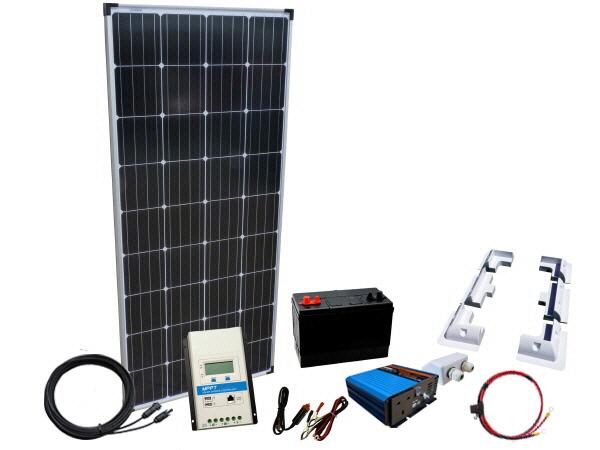 185W - 12V Off Grid Solar Kit - 300W Power Inverter