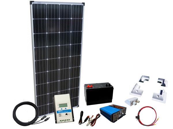 100W - 12V Off Grid Solar Kit - 300W Power Inverter