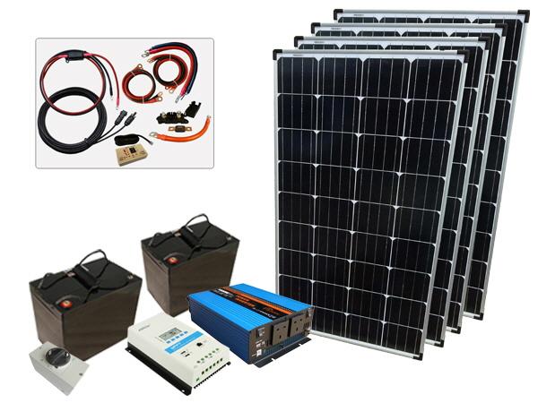 520W - 12V Off Grid Solar Kit - 1500W Power Inverter