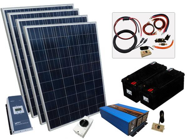 800W - 12V Off Grid Solar Kit - 2000W Power Inverter