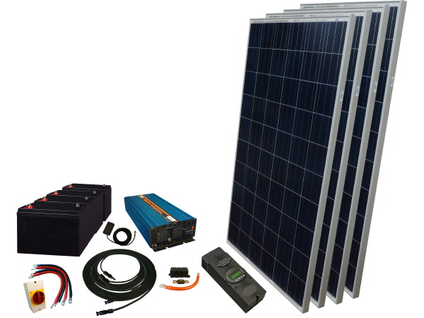 1100W - 12V Off Grid Solar Kit & 4000W Power Inverter