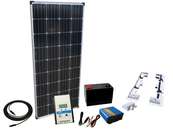 150W - 12V Off Grid Solar Kit & 300W Power Inverter