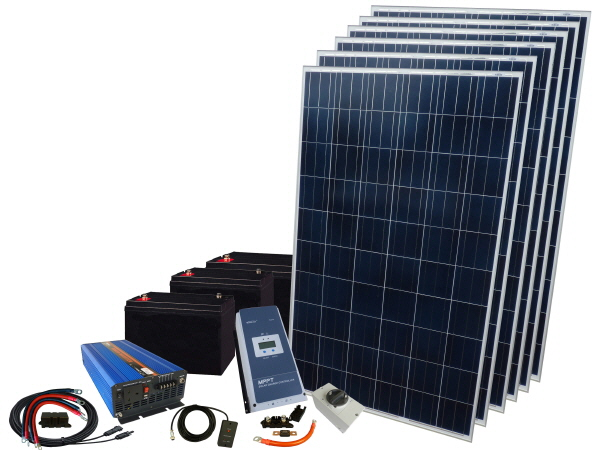 1680W - 12V Off Grid Solar Kit - 3000W Inverter & Batteries