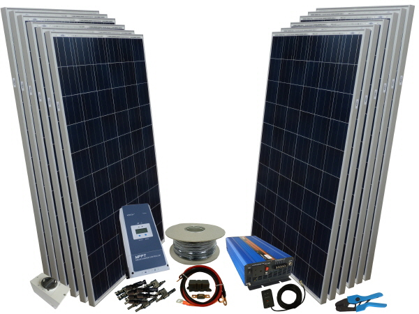 2500W - 24V Off Grid Solar Kit & 3000W Power Inverter