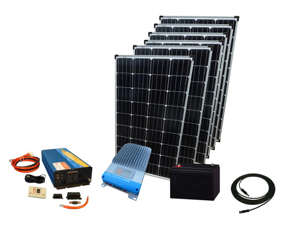 720W - 12V Off Grid Solar Kit & 1000W Power Inverter