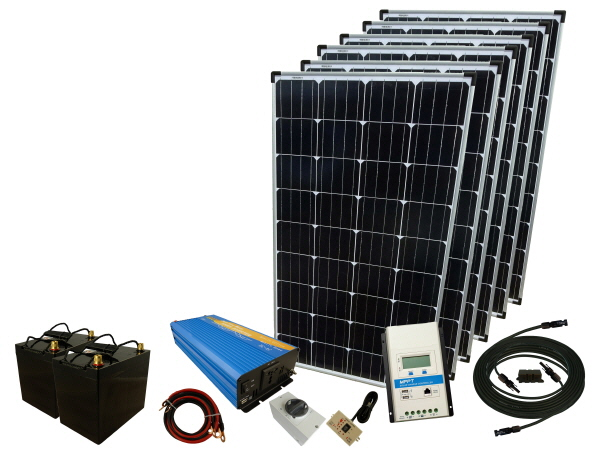 720W - 24V Off Grid Solar Kit & 1000W Power Inverter