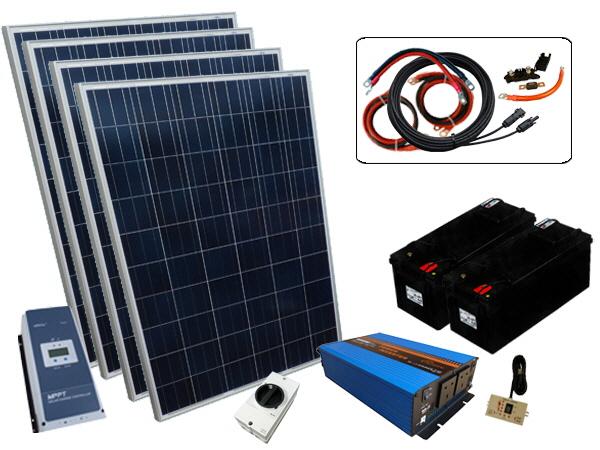 800W - 12V Off Grid Solar Kit & 2000W Power Inverter