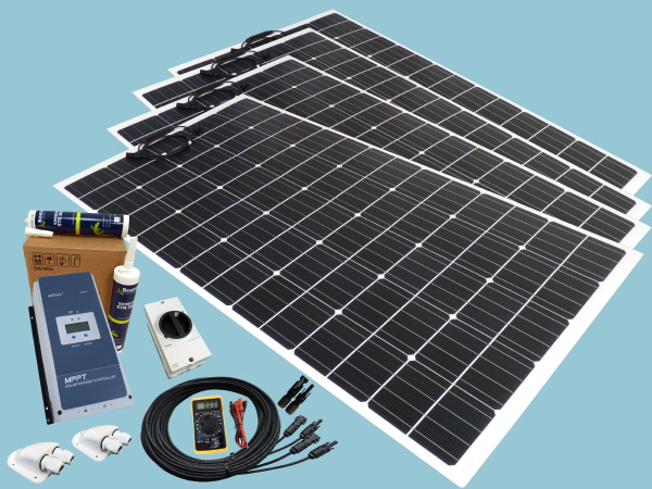 800W Flexible Solar Narrowboat  Kit 12V or 24V